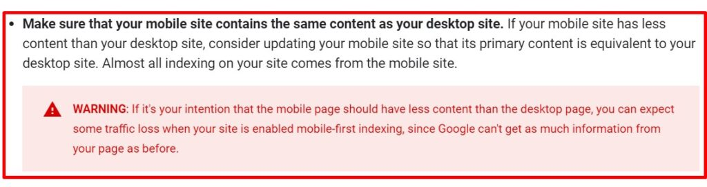 Google Page Experience and mobile-first indexing