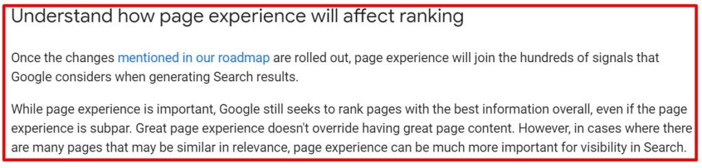 Google page experience guidelines