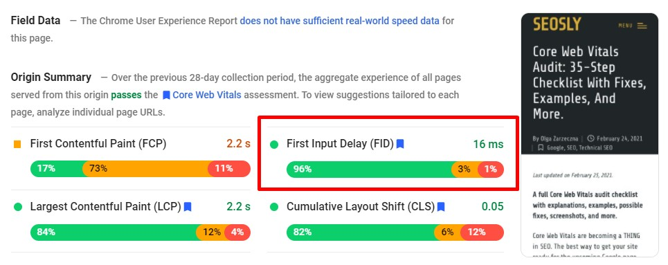 How to measure First Input Delay in Google PageSpeed Insights