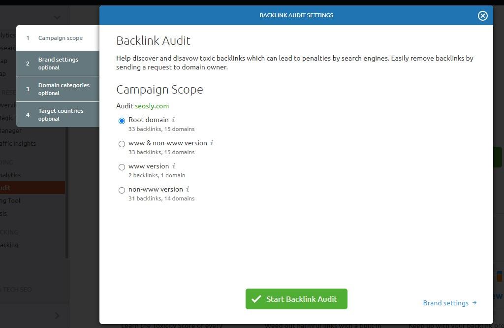SEMrush Review: Backlink audit
