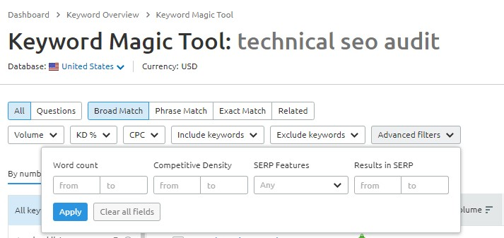Keyword Magic Tool in SEMrush