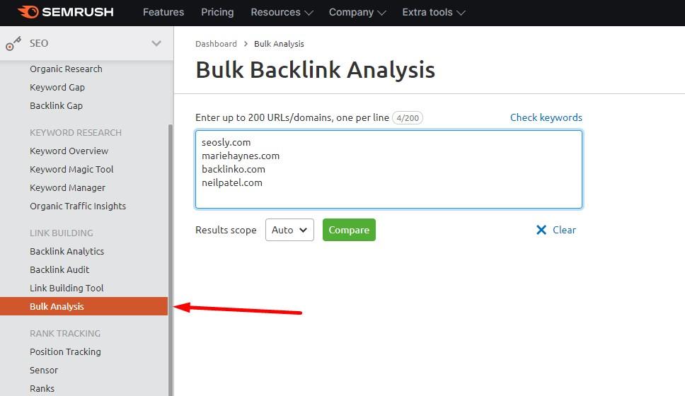 Bulk Backlink Analysis in SEMrush