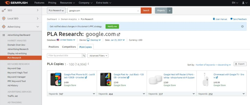 PLA Research in SEMrush