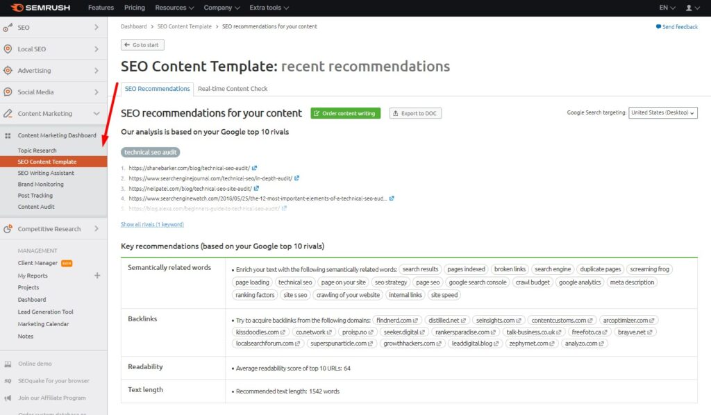 SEO Content Template in SEMrush