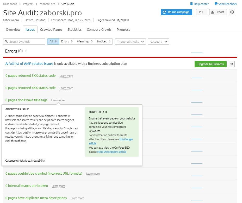 Site audit issues in SEMrush