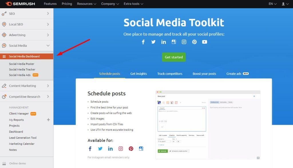 Social Media Dashboard in SEMrush