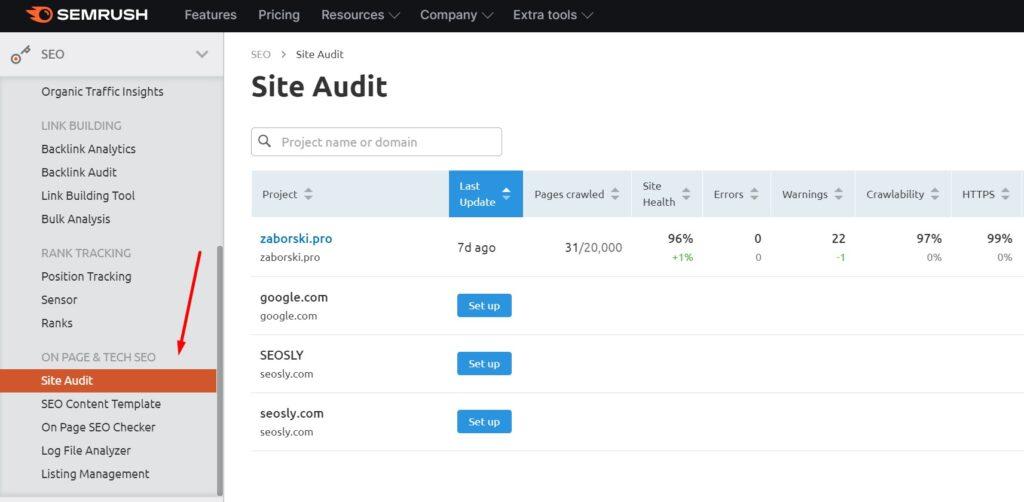 Site Audit in SEMrush