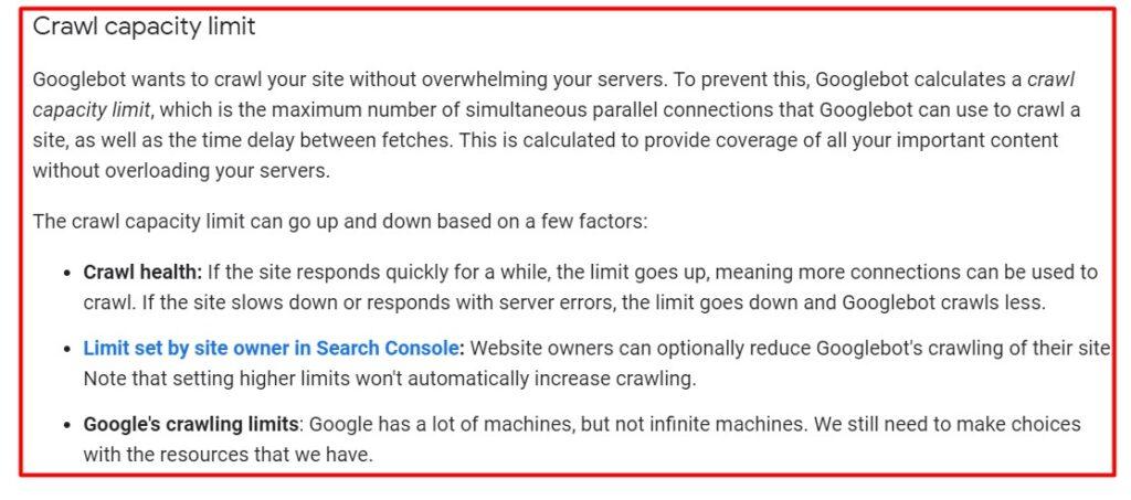 Crawl budget optimization and crawl capacity limit