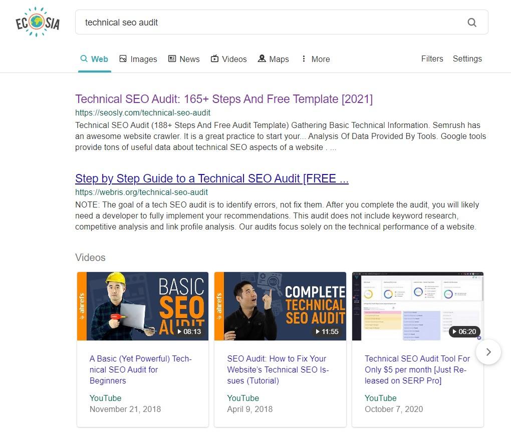 Ecosia search engine results