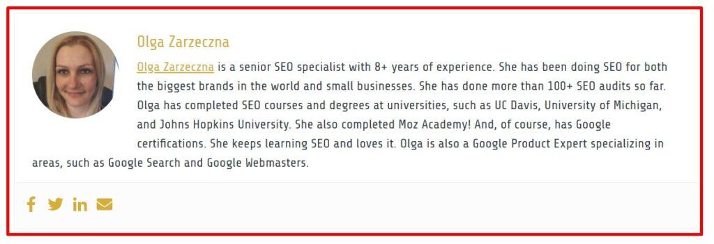 On-page SEO: author bio