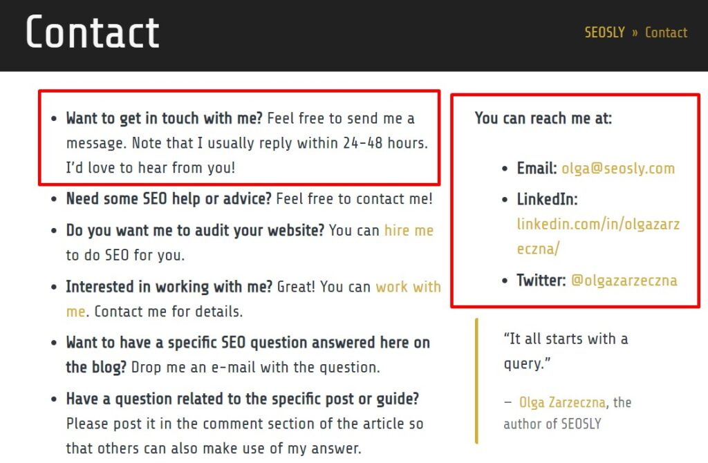 On-page SEO checklist: contact page
