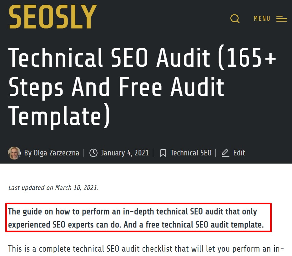 The first sentences and on-page SEO