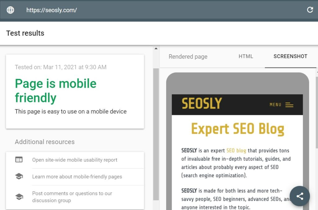 on page seo checklist mobile friendly