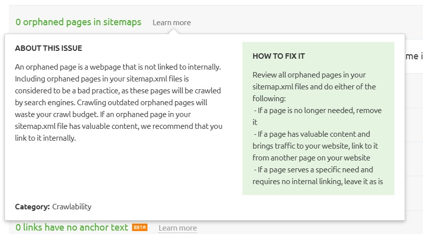 Orphaned pages reported by Semrush