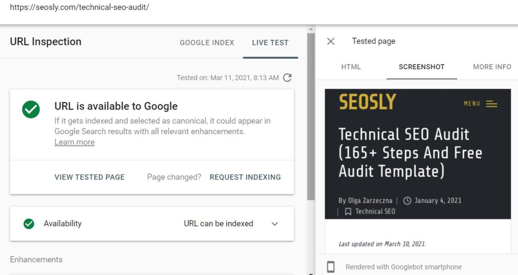 on page seo checklist rendering