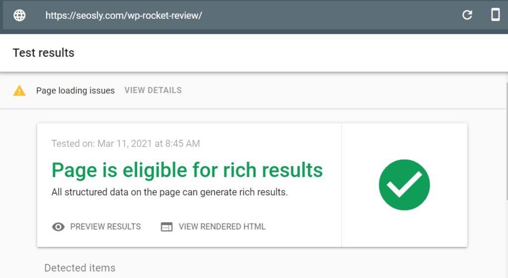 Google Rich Resuts Test