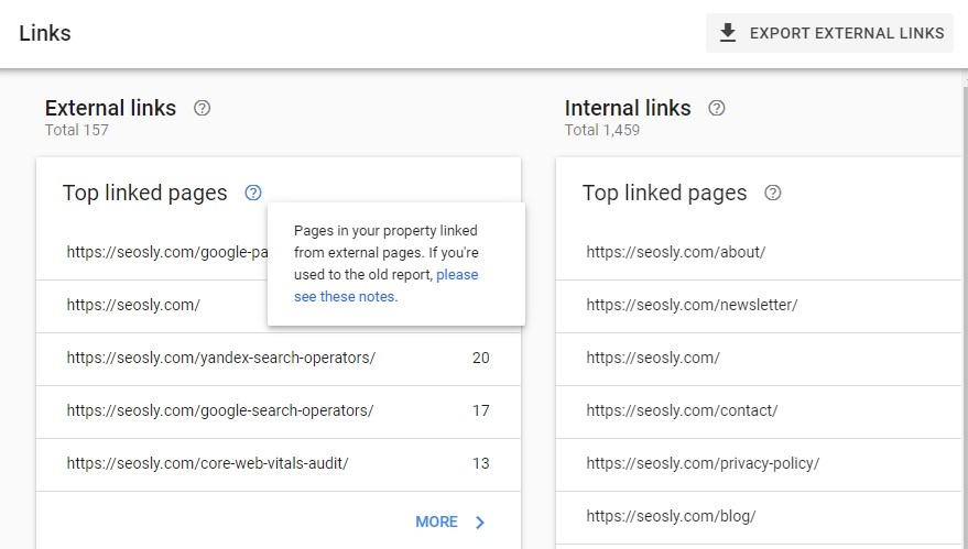 Google Search Console Links report