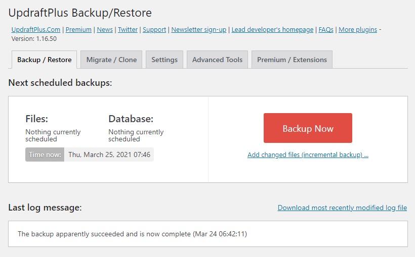 Website SEO redesign checklist: backup