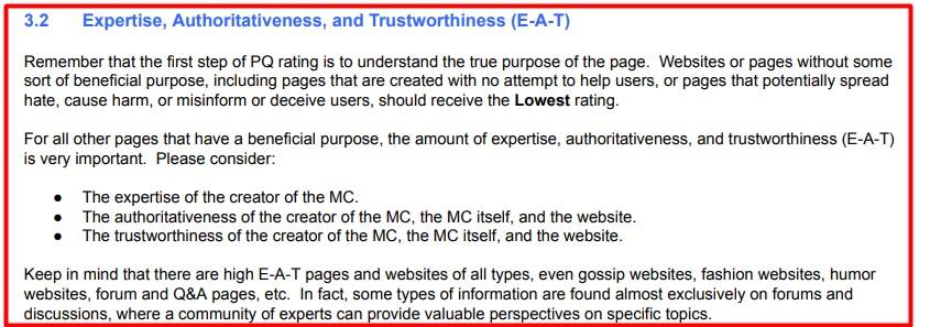 Website redesign SEO checklist: E-A-T