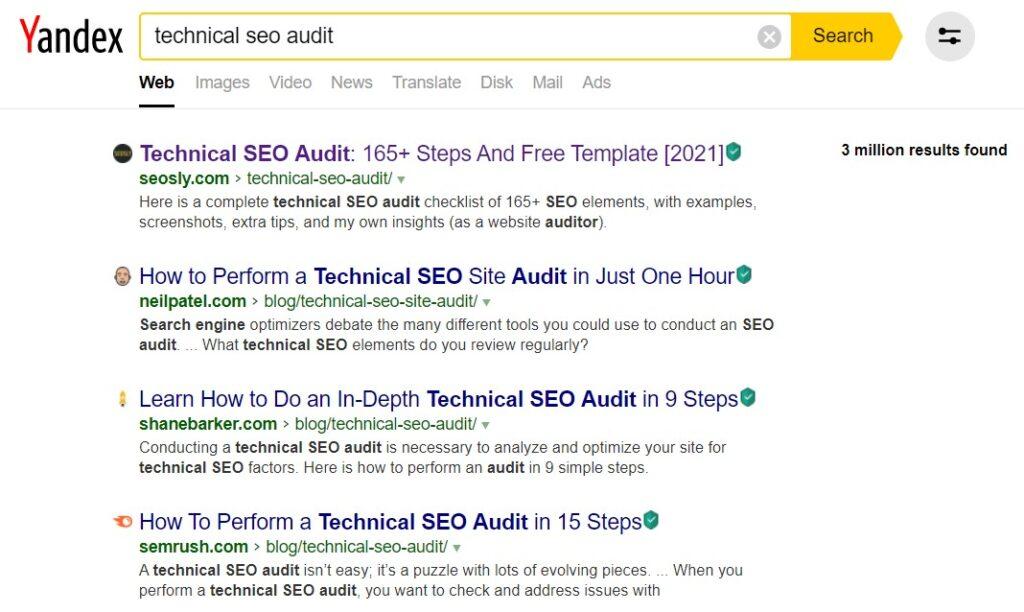 Yandex search results