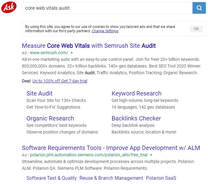 Ask.com search results