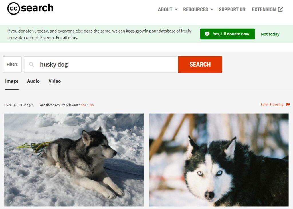 CC Search search results