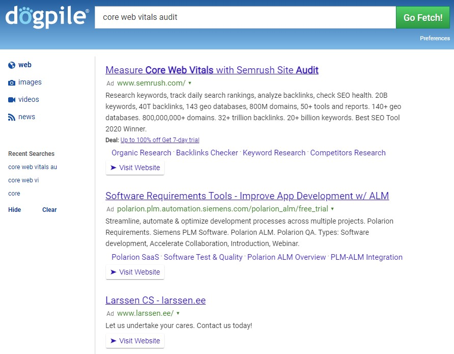 Dogpile search results