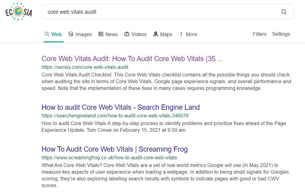 Ecosia search results