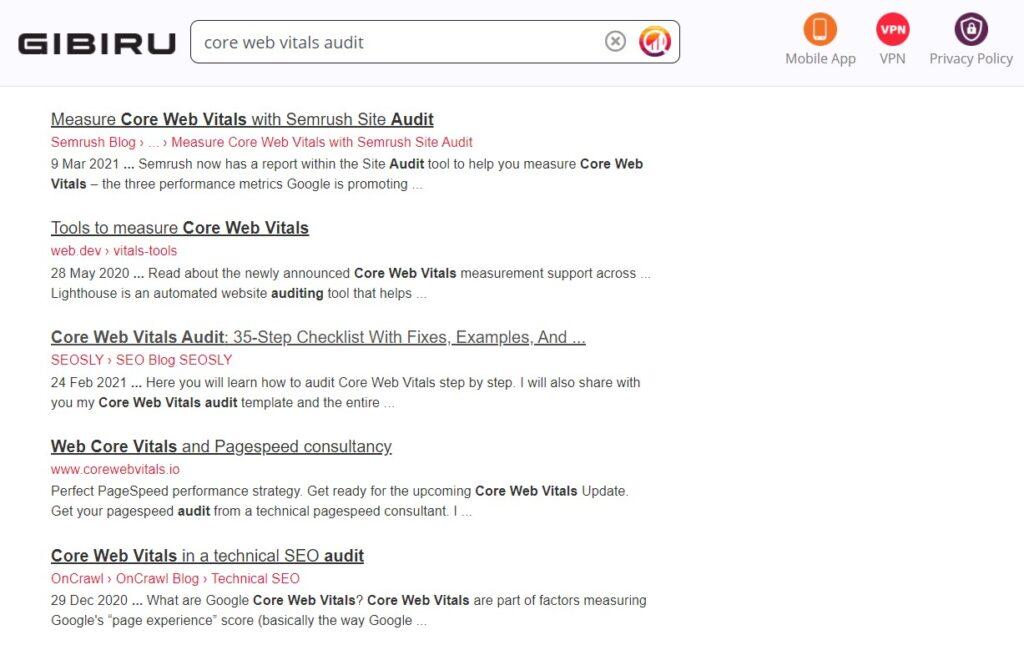 Gibru search results