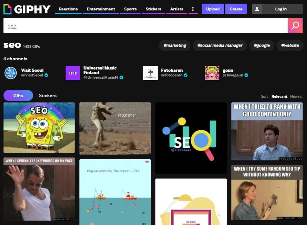 Giphy search engine