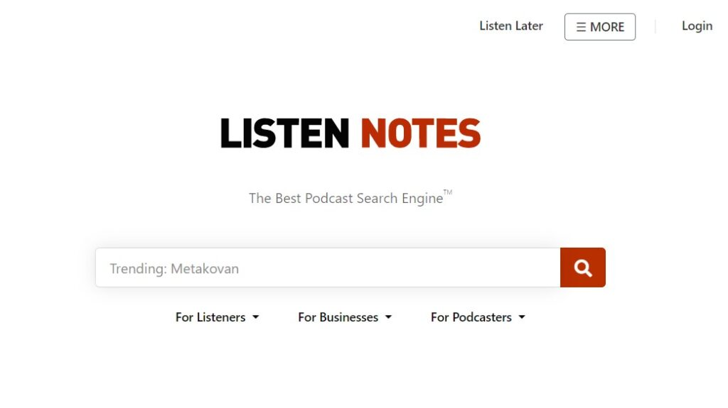 Alternative search engines: Listen Notes