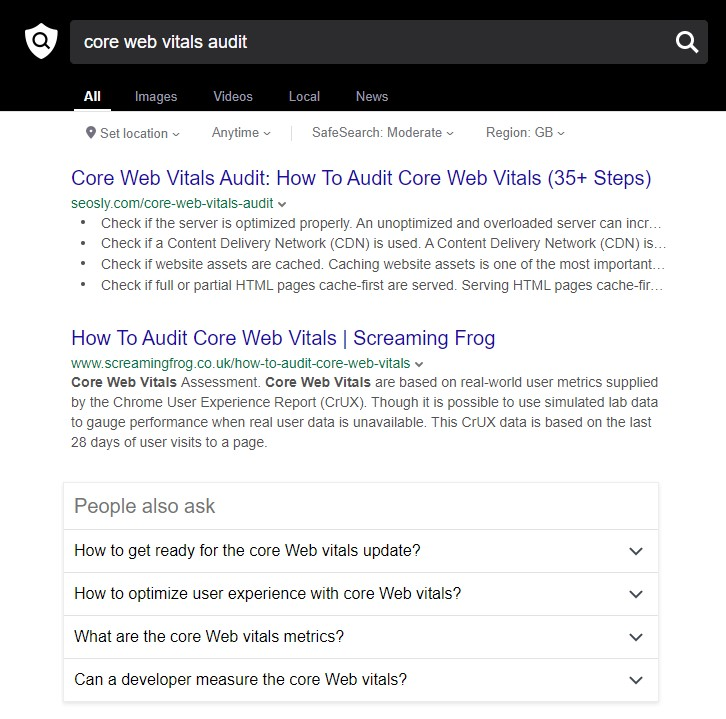 OneSearch search results