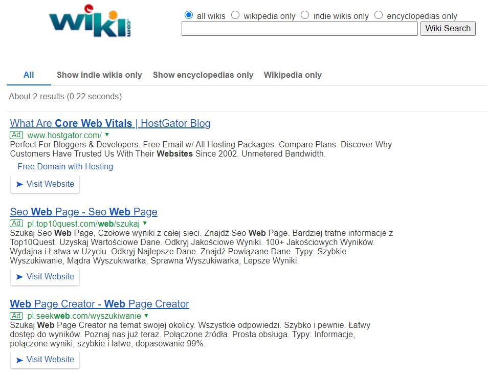 Wiki.com search results