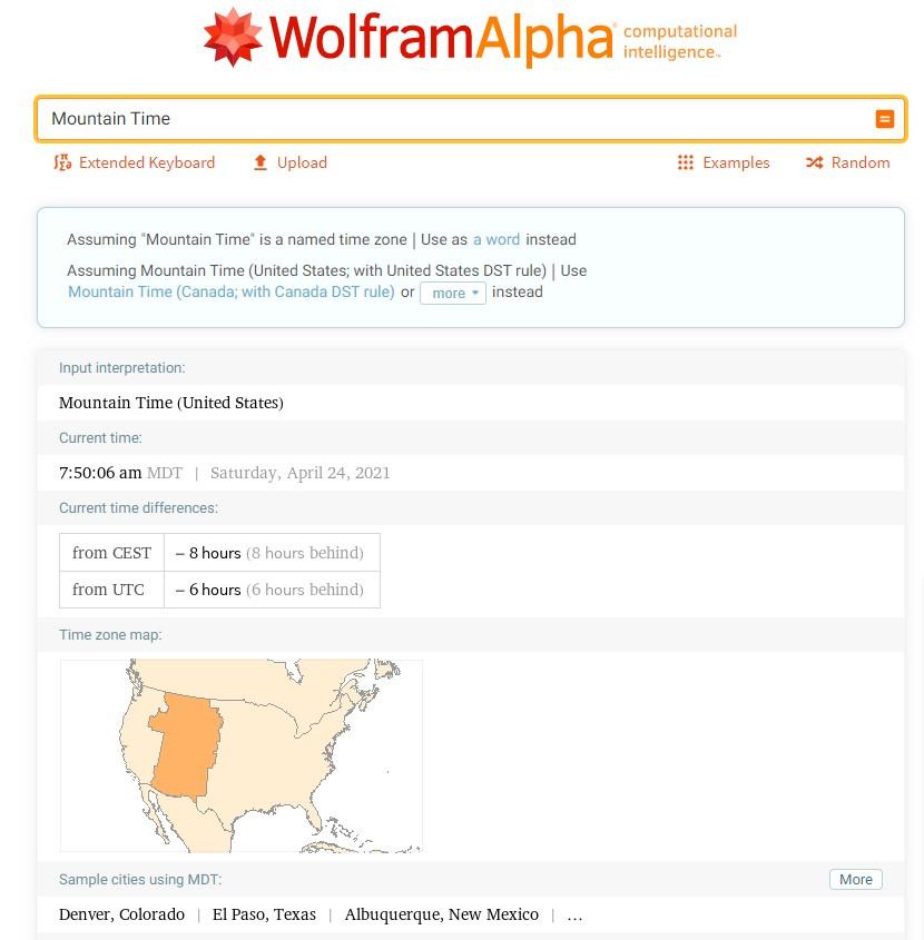 WolframAlpha search results