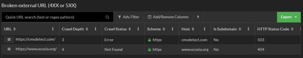 Broken external links in Sitebulb