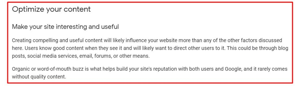 Content and its influence on SEO