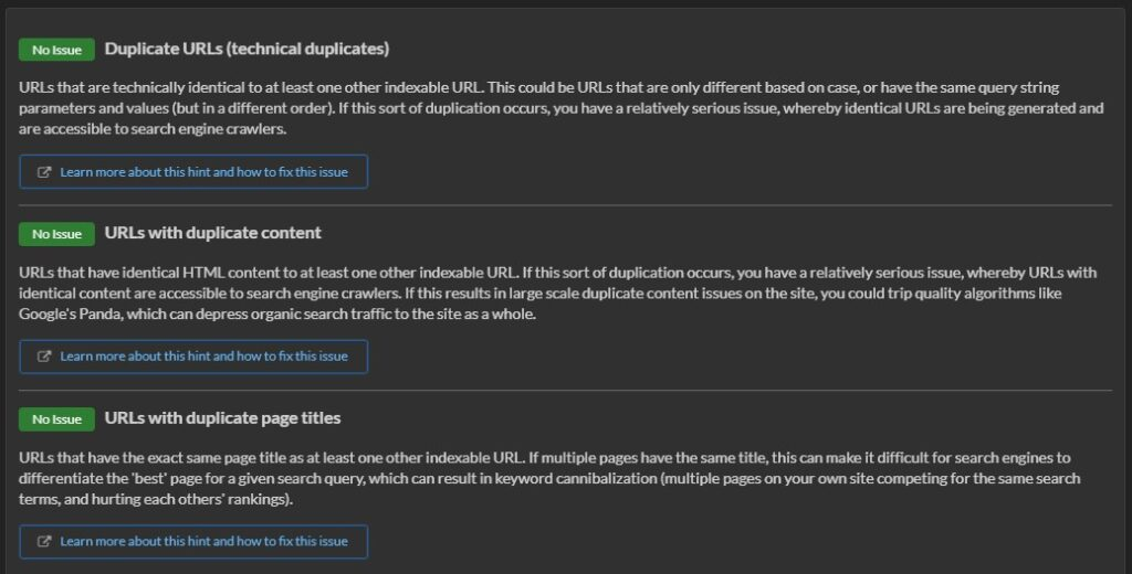Duplicate content issues in Sitebulb