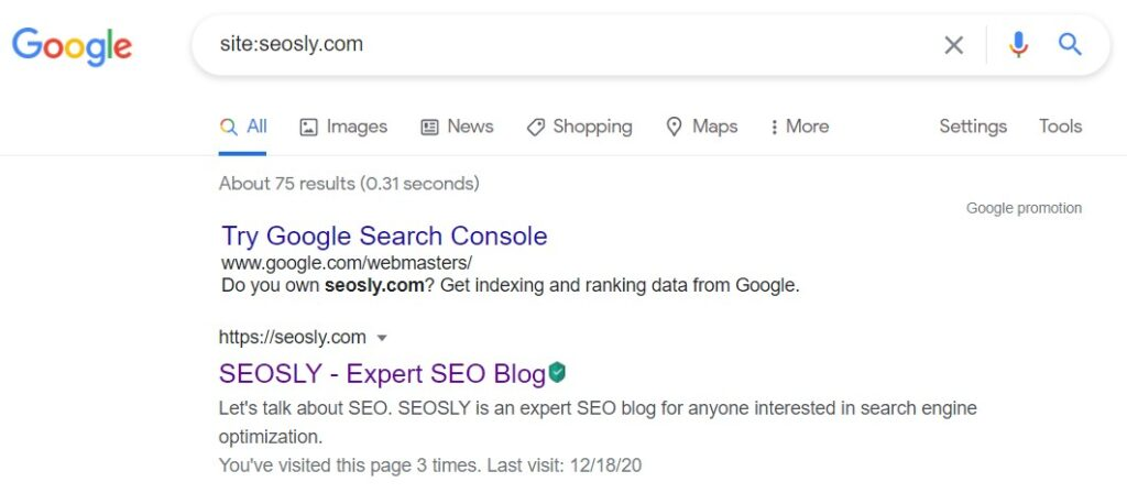 Site: command to check if the site is indexed