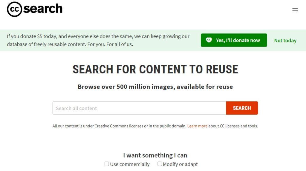 Alternative search engines: CC Search