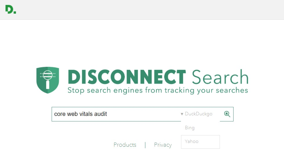Alternative search engines: Disconnect Search