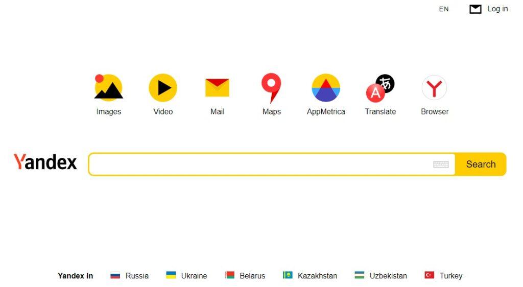 Alternative search engines: Yandex
