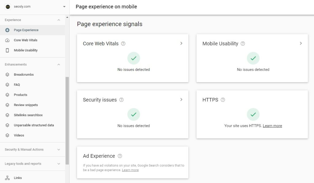 Google page experience signals in GSC