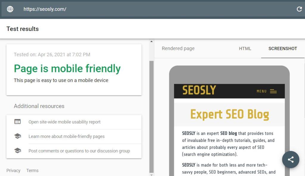 Mobile-Friendly test Google SEO tool