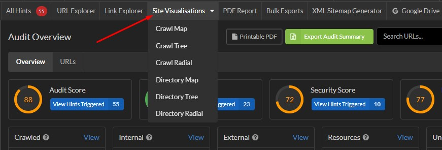 Site visualizations in Sitebulb