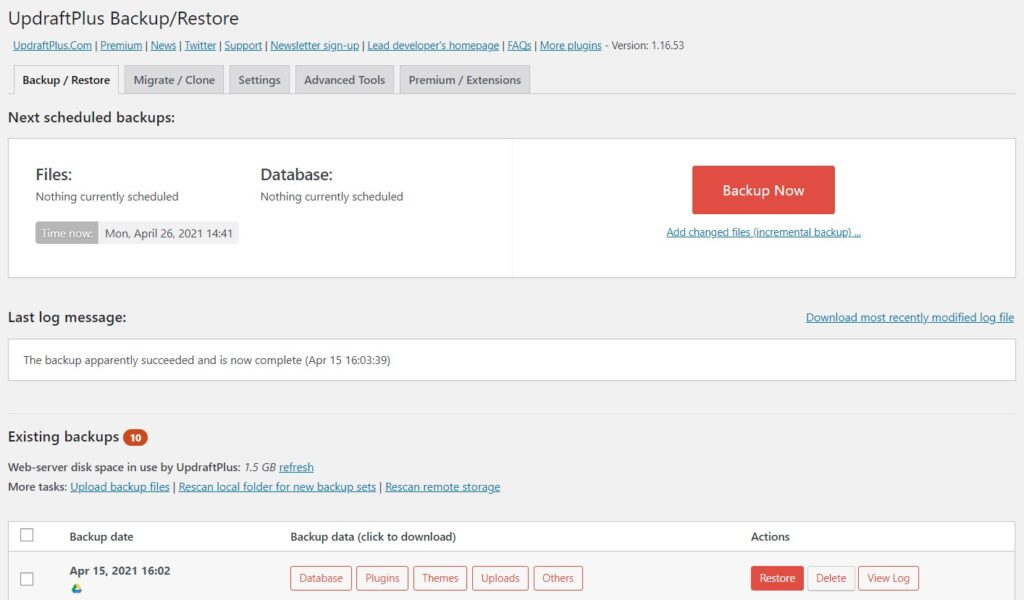 Updraft Plus WordPress Plugin