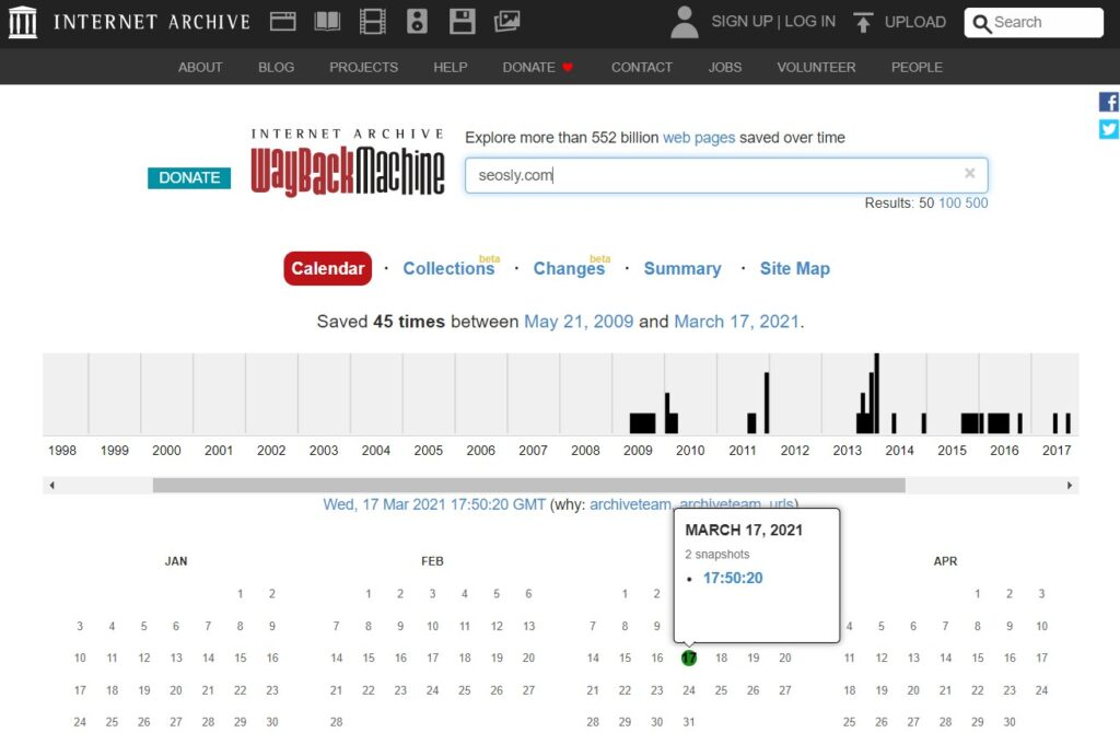 Wayback Machine results