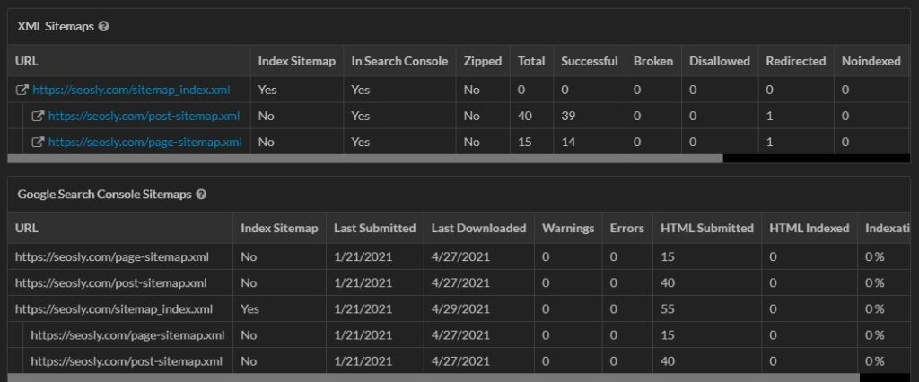 XML sitemaps in Sitebulb