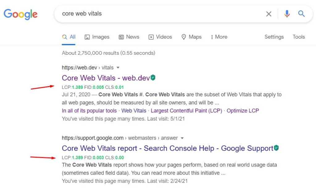 Core SERP Vitals Chrome Extension