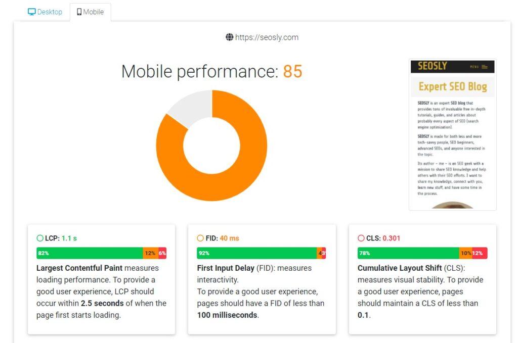 Dunplab Web Vitals Tester measuring Core Web Vitals