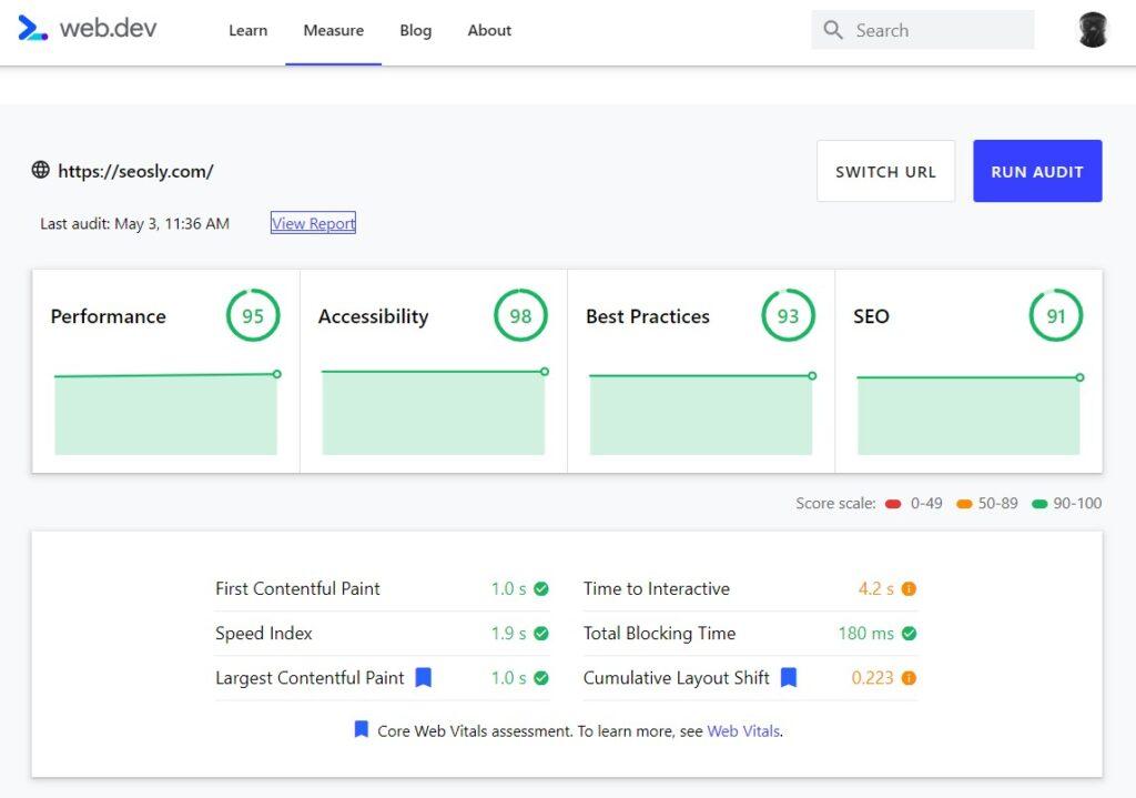 web.dev audit results